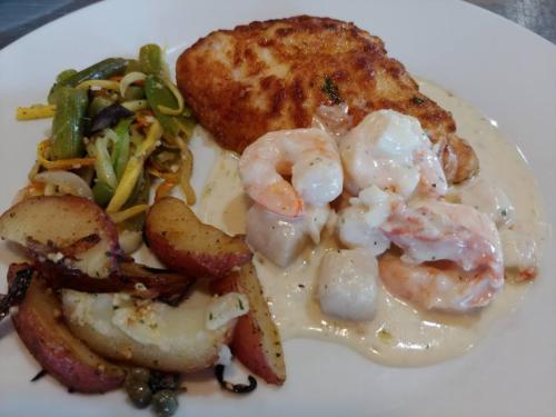 Halibut with Shrimp and Crab Sauce